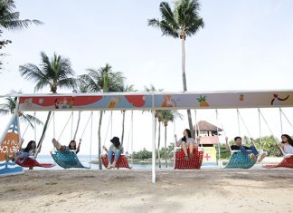 Singapore's Longest Swing Lets 18 People Can Kick Their Feet Into The Air Simultaneously At Sentosa's Palawan Beach