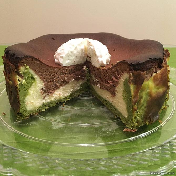 Triple-layered Burnt Cheesecake Sliced