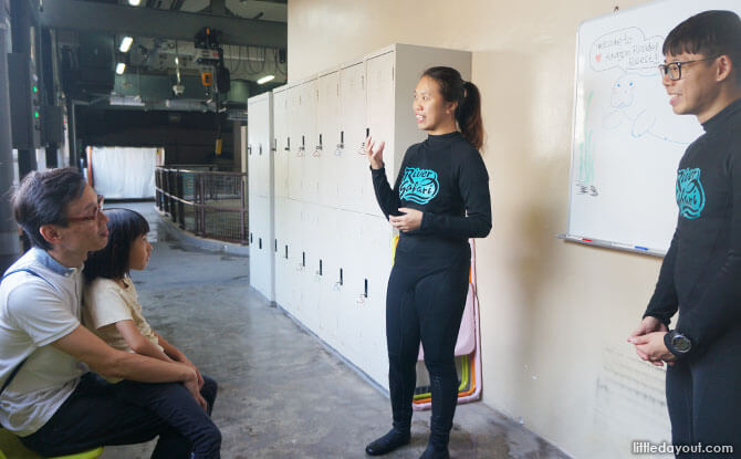 Discovering intriguing facts about manatees from aquarists Mun Yee and Jimmy.