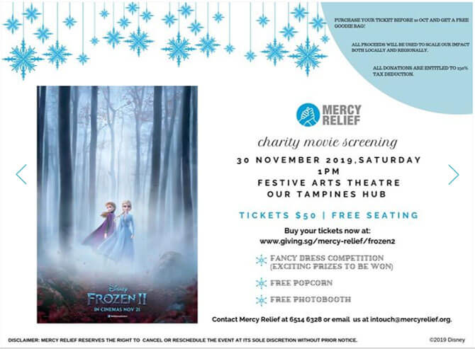 Charity Movie Screenings of Frozen 2 by Mercy Relief