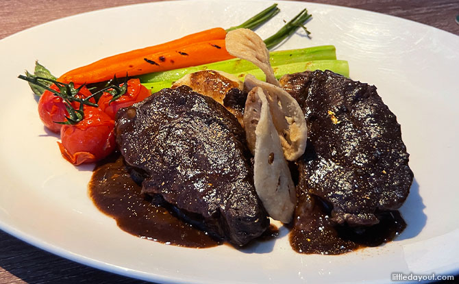Braised Ox Cheek With Gold Flakes & Red Wine Sauce