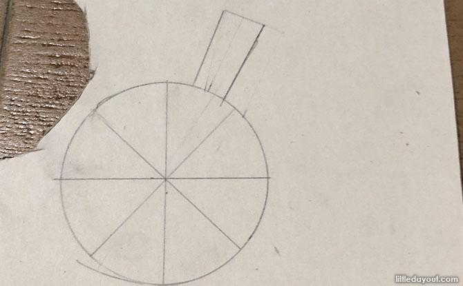 Draw a 3cm x 1.5cm rectangle along the edges