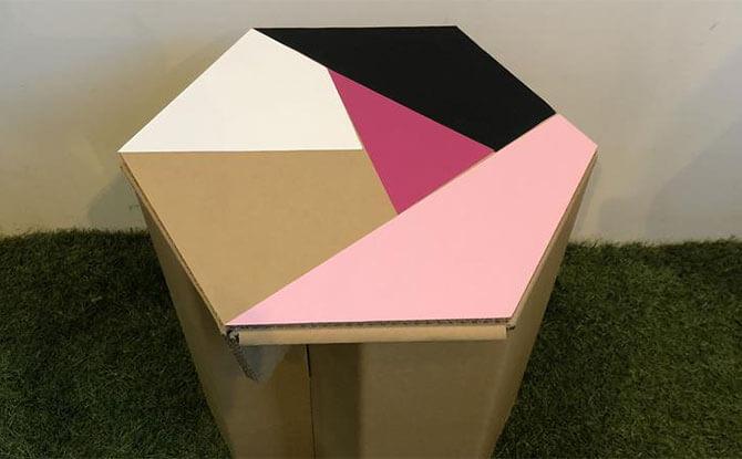 HEXA Stool made from Cardboard