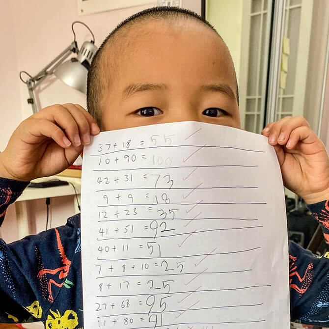 Littler Chow's math exercises while staying home amidst the outbreak. (He's only 4!)