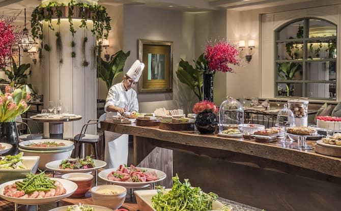 Buffet spread at one-ninety restaurant