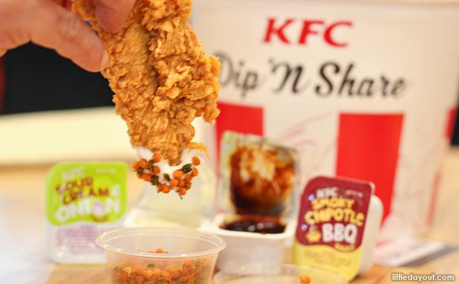 KFC Dip, Dunk 'N Share Bucket Taste Test & New KFC Singapore App