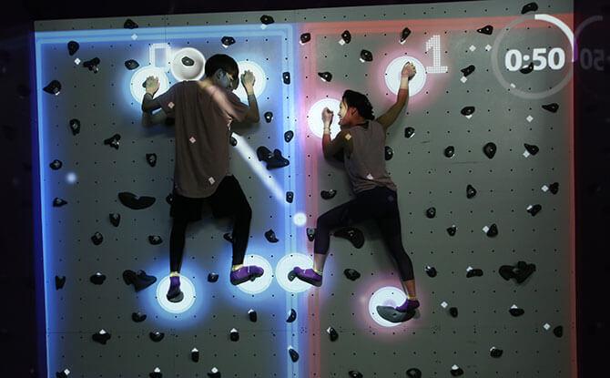Augmented Climbing Wall at SuperPark