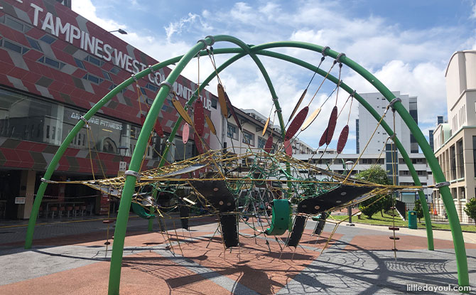 Tampines N8 Playground: Flower Dome Structure And Rope Obstacle Course
