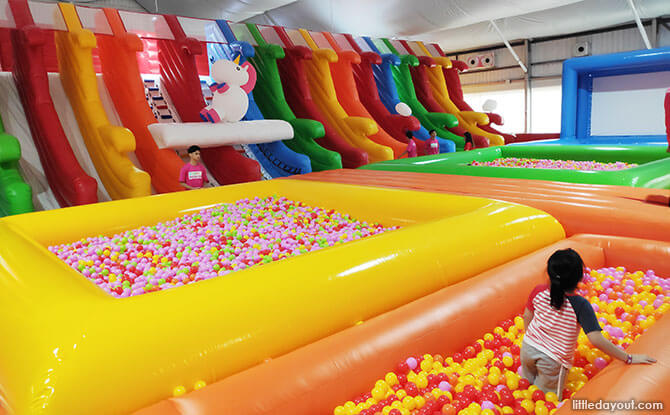 Five ball pits, trampolines, twenty sliding lanes