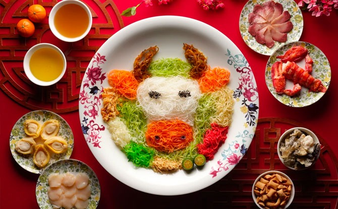 15 Stamford by Alvin Leung's Salmon Yu Sheng Platter Cute Year of the Ox Yu Sheng