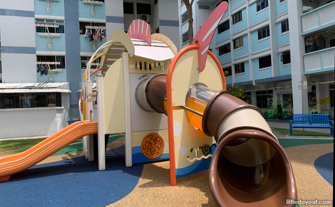 Sliding out of the fish playground in Singapore