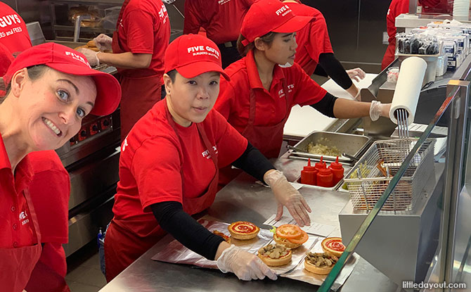 Burgers at Five Guys Singapore