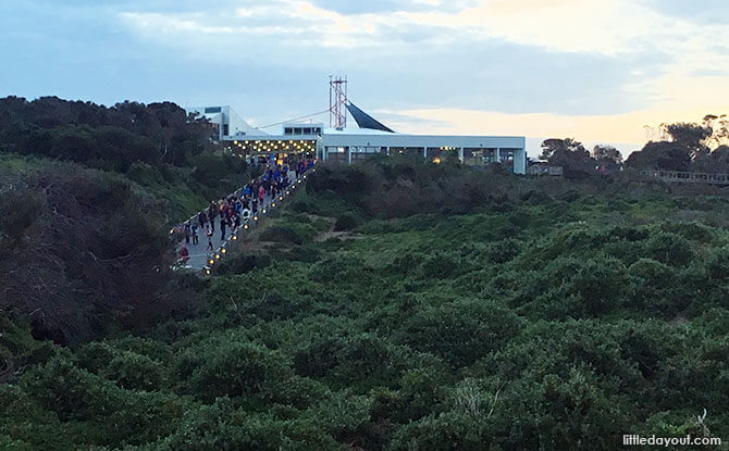 A view of the Phillip Island Penguins Visitor Centre and Boardwalk.