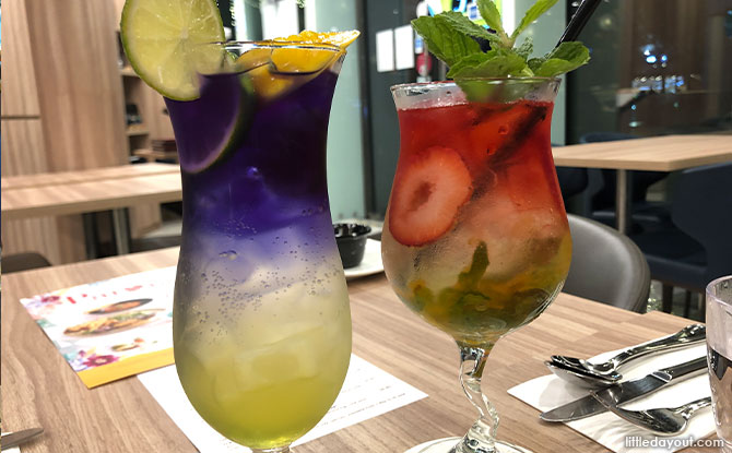 The Iced Hibiscus Citrus Soda Tea and Iced Butterfly Pea Spicy Mango Soda Tea