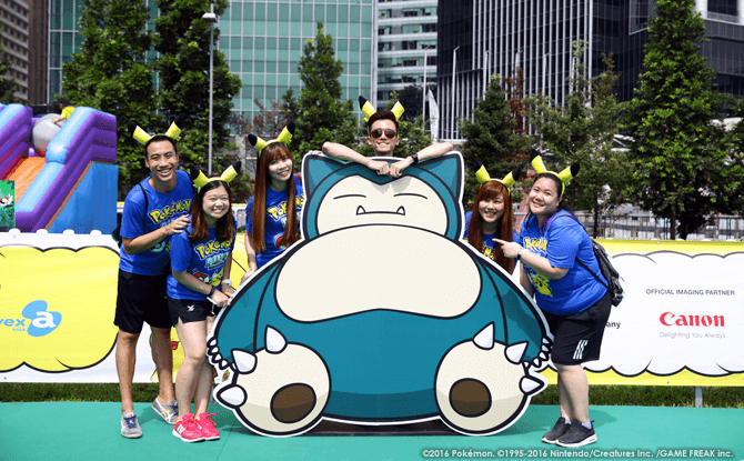 A life-sized Snorlax cut-out at the Pokémon Garden