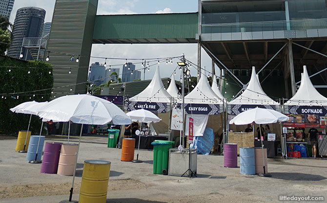 Carnival food stalls.