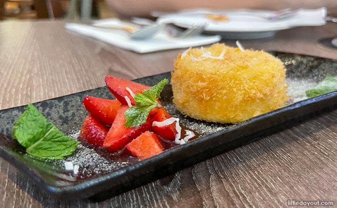 Golden Fried Milk Fritter With Fresh Strawberry Compote