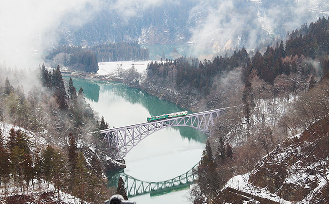 No. 1 Tadami River Bridge (Tadami Line Train, Fukushima Prefecture)-H
