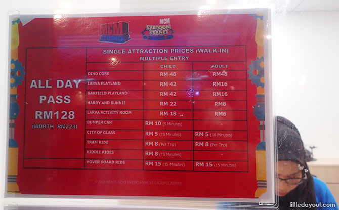 Prices at the MCM Theme Park