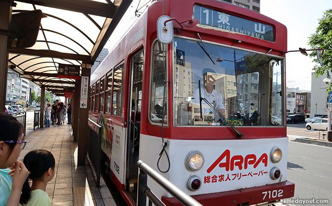 Tram to Korakuen and Okayama Castle