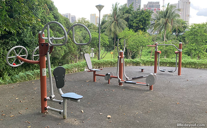 Fitness equipment at Sunset Way Park