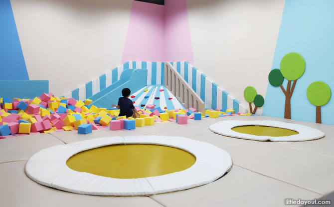 Trampoline nets and a sponge pit