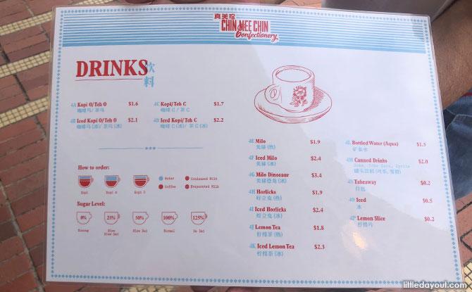 Drinks menu at Chin Mee Chin
