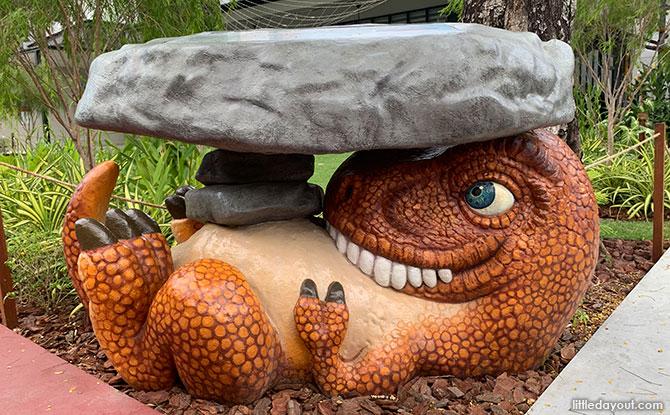 Dinosaur statue at HUB & SPOKE