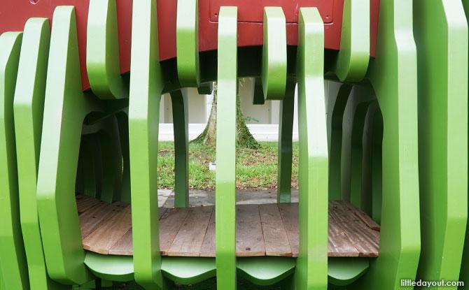 Climb inside the dinosaur playground