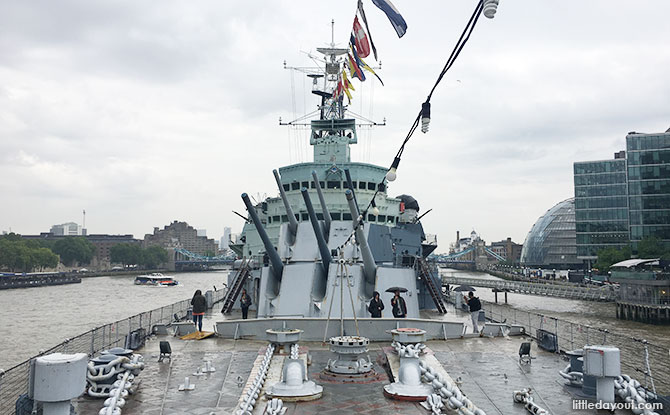 View from the bow of HMS Belfast