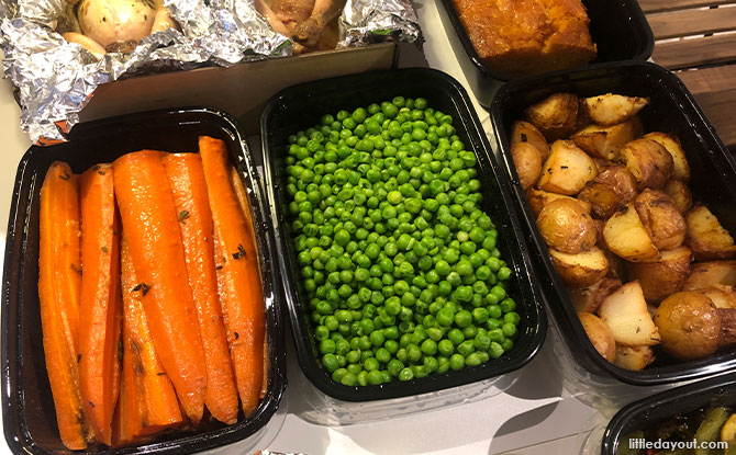 Butter minted peas, honey glazed carrots, rosemary roasted potatoes