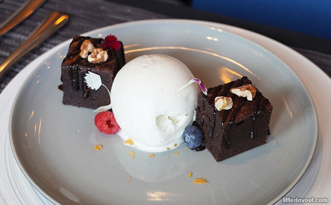 Valrhona Brownie with Homemade Vanilla Gelato