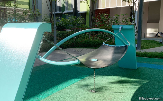 Rubber hammocks at the Forfar Heights playground