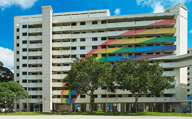 Block 316 with its iconic rainbow mural painted on its façade at Hougang Avenue 7, 2020