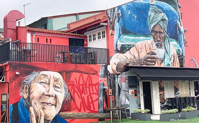 Trishaw Man & Samsui Woman - Little India Murals