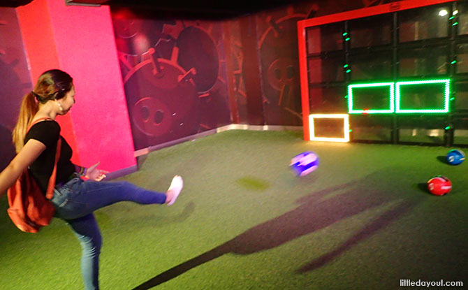 Kick a soccer ball at the Angry Birds Activity Park