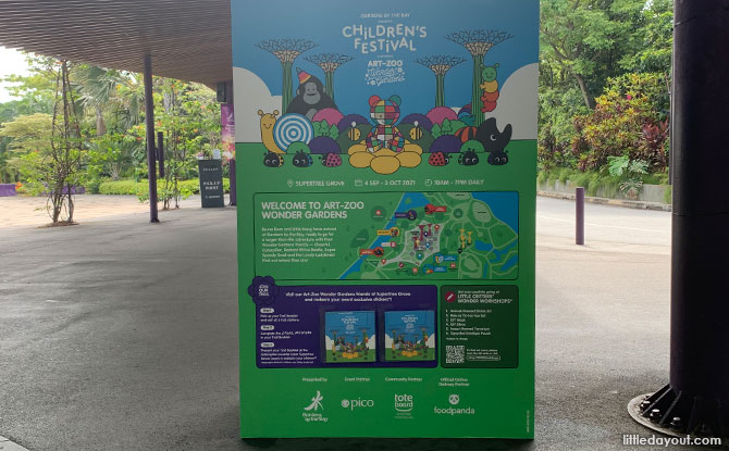 Standee with Gardens by the Bay Children's Festival trail booklets