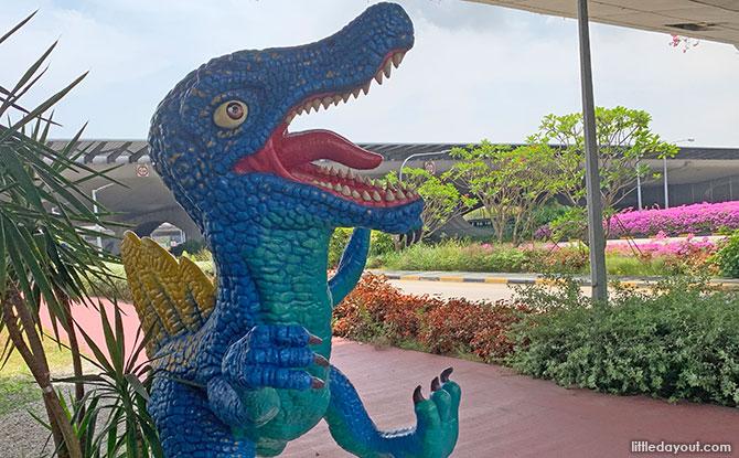 Dancing dinosaur at Changi Airport Connector