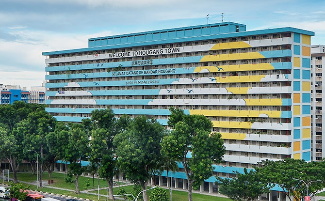 Block 25 along Upper Serangoon Road with an eye-catching mural of the sky painted on its façade, 2020,
