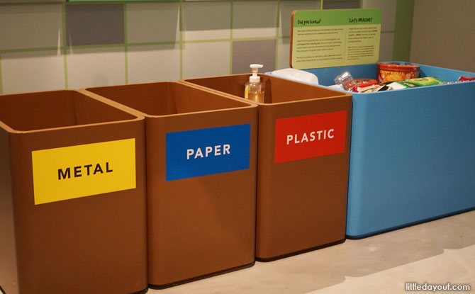 Learn to sort out different types of trash for recycling.