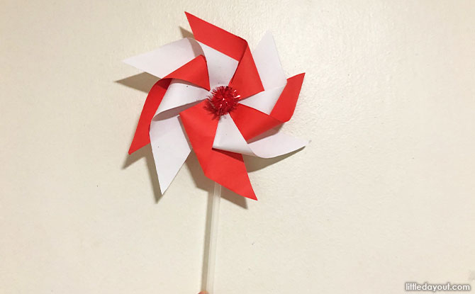 How To Make A Red And White Pinwheel For National Day