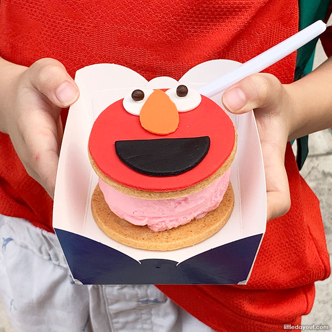 Elmo ice cream sandwich