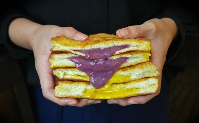 Purple Potatoes Cream Toast, Golden Salted Egg Lava Toast