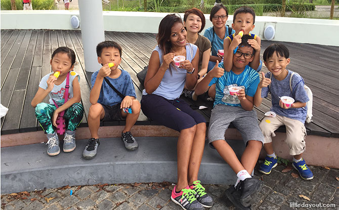 Happy faces after the race, cooling down with an ice cream treat.