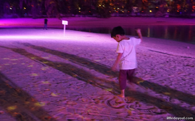 Playing at Siloso Beach - Magical Shores Light Show