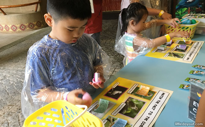 Opening the eggs at the Jurong Bird Park Easter Egg Hunt 2019