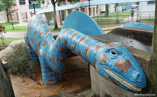 Blue sauropod slide at Woodlands Street 81 Fushan Garden