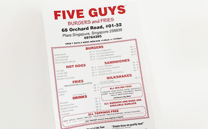 Five Guys Singapore Menu