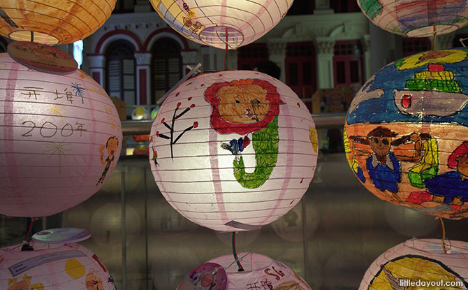 Lanterns from the Lantern-painting competition on display in Chinatown. Mid-Autumn Festival in Singapore