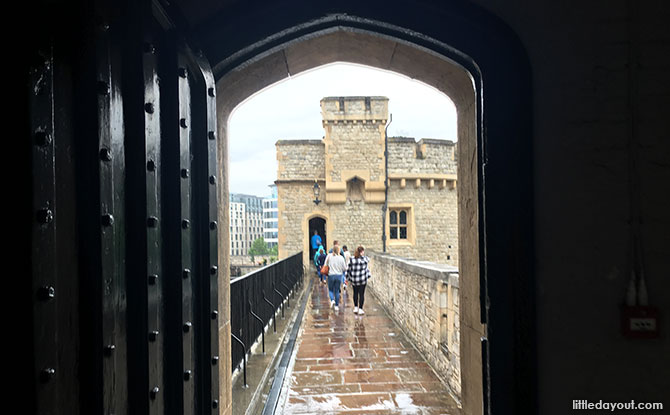Walking along the wall of the Tower of London